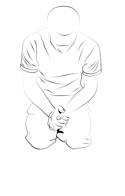 Line Drawing Person : Person kneeling drawing sketch coloring page
